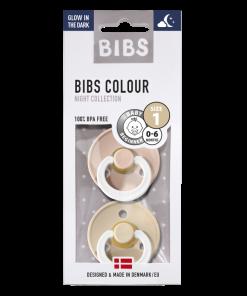 bibs tetines caoutchouc naturel vanilla blush t1 bebe phosphorescente