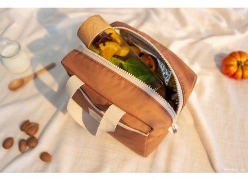 insulated lunch bag sunshine cinnamon nobodinoz sav gouter orange bio coton naturel isotherme mylittledream 24