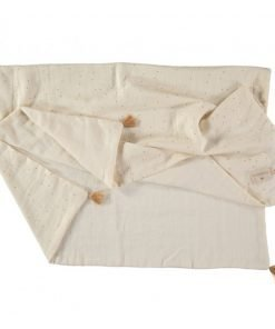 treasure summer blanket sweet dots nobodinoz couverture natural blanc dore bebe naissance ete bio 1