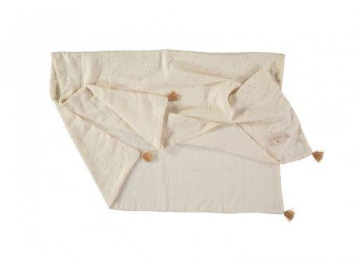 treasure summer blanket sweet dots nobodinoz couverture natural blanc dore bebe naissance ete bio 1