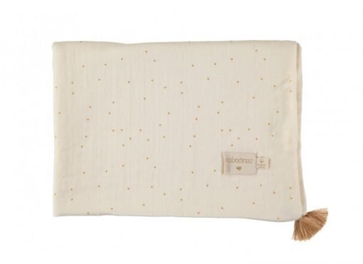 treasure summer blanket sweet dots nobodinoz couverture natural blanc dore bebe naissance ete bio